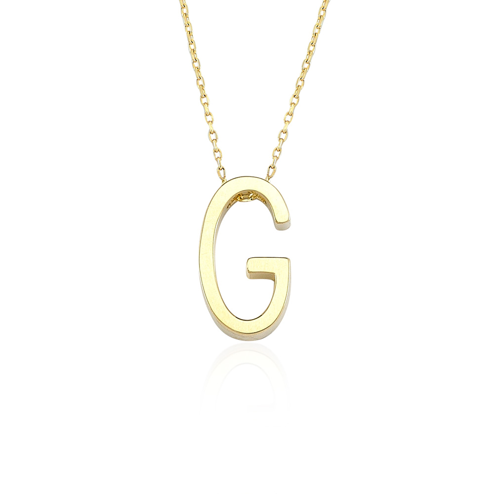 Glorria Gold 3D A Letter Necklace