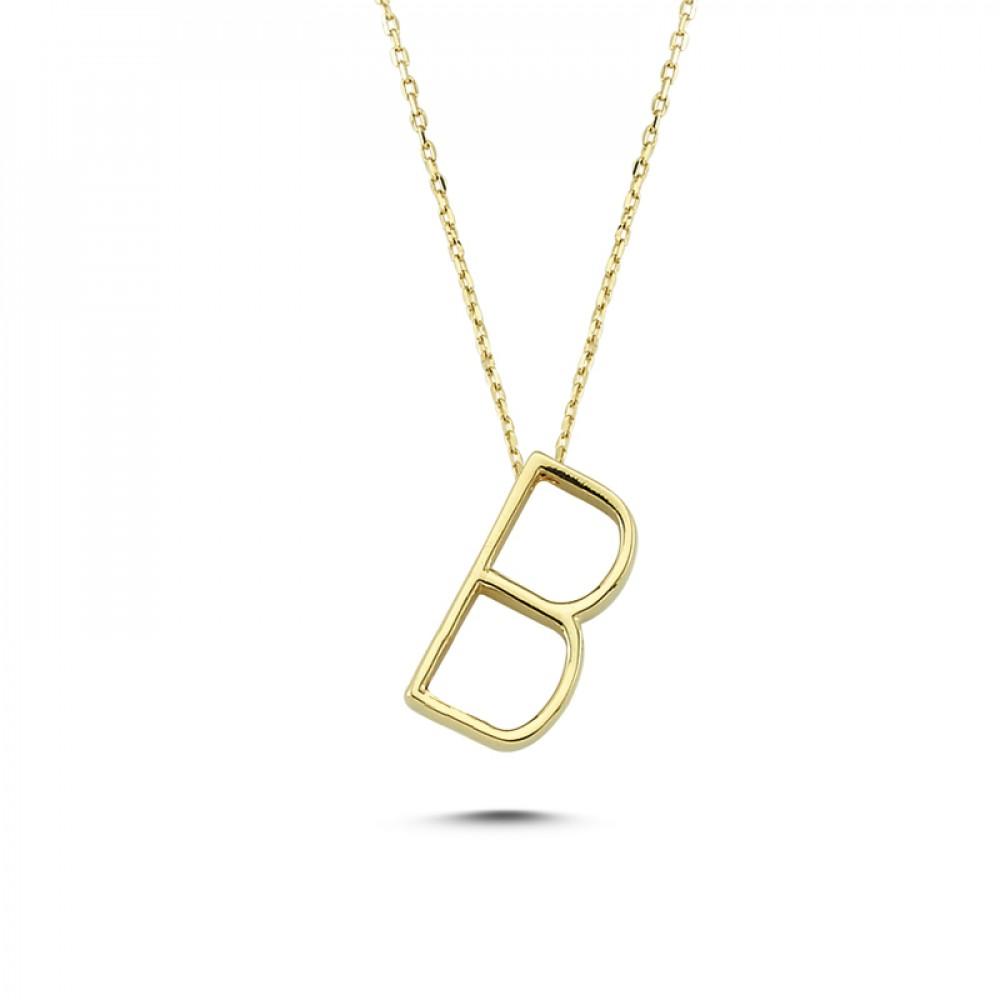 Glorria Gold 3D B Letter Necklace