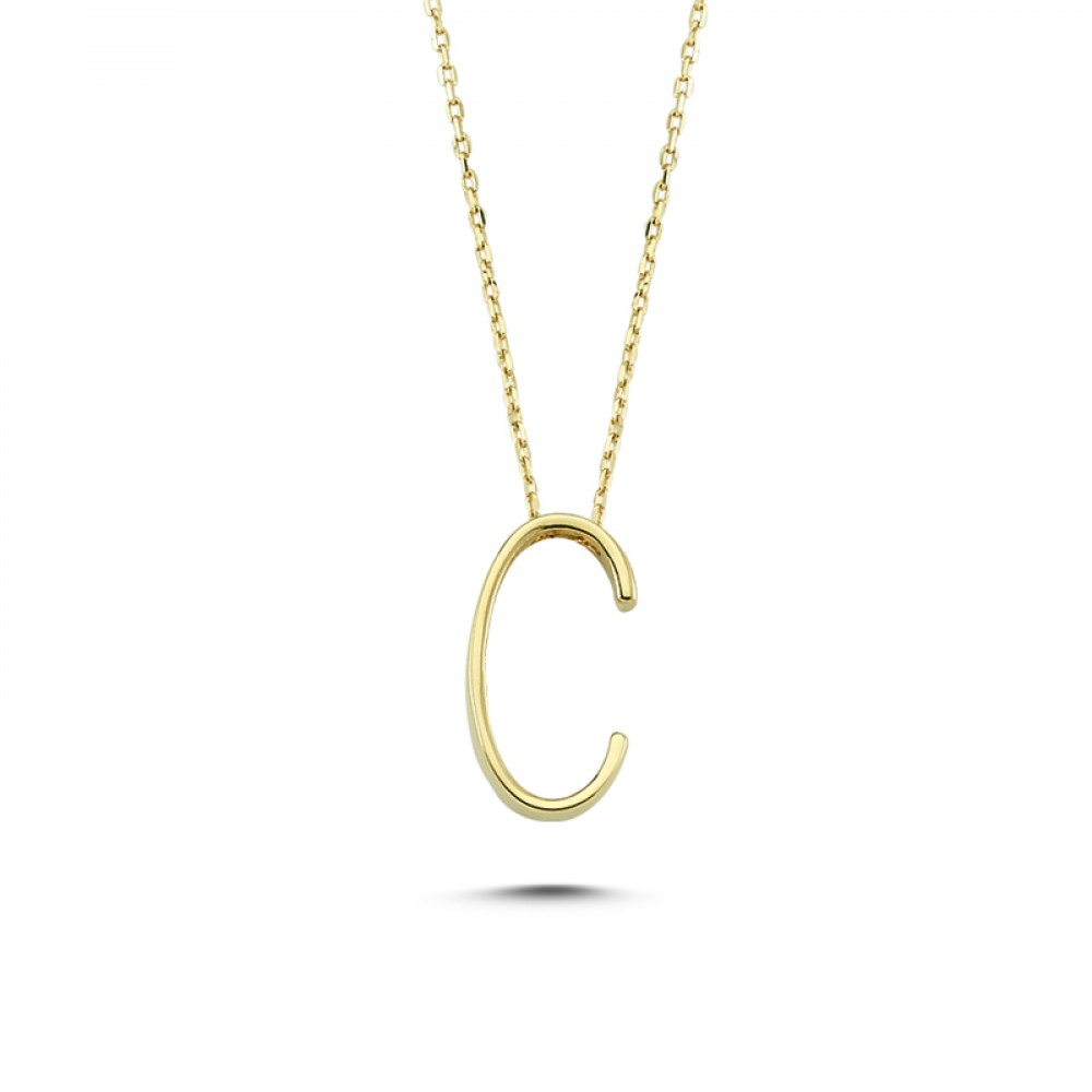 Glorria Gold 3D Ç Letter Necklace
