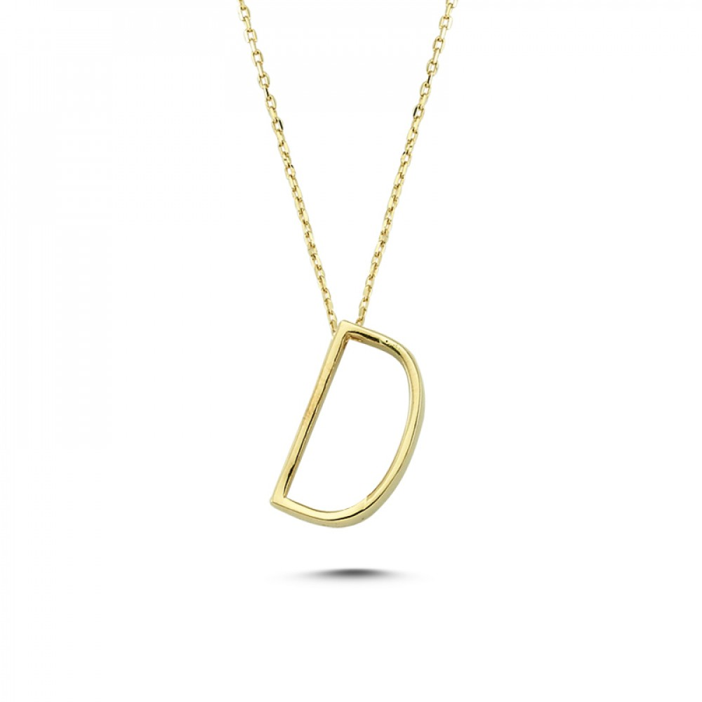 Glorria Gold 3D D Letter Necklace