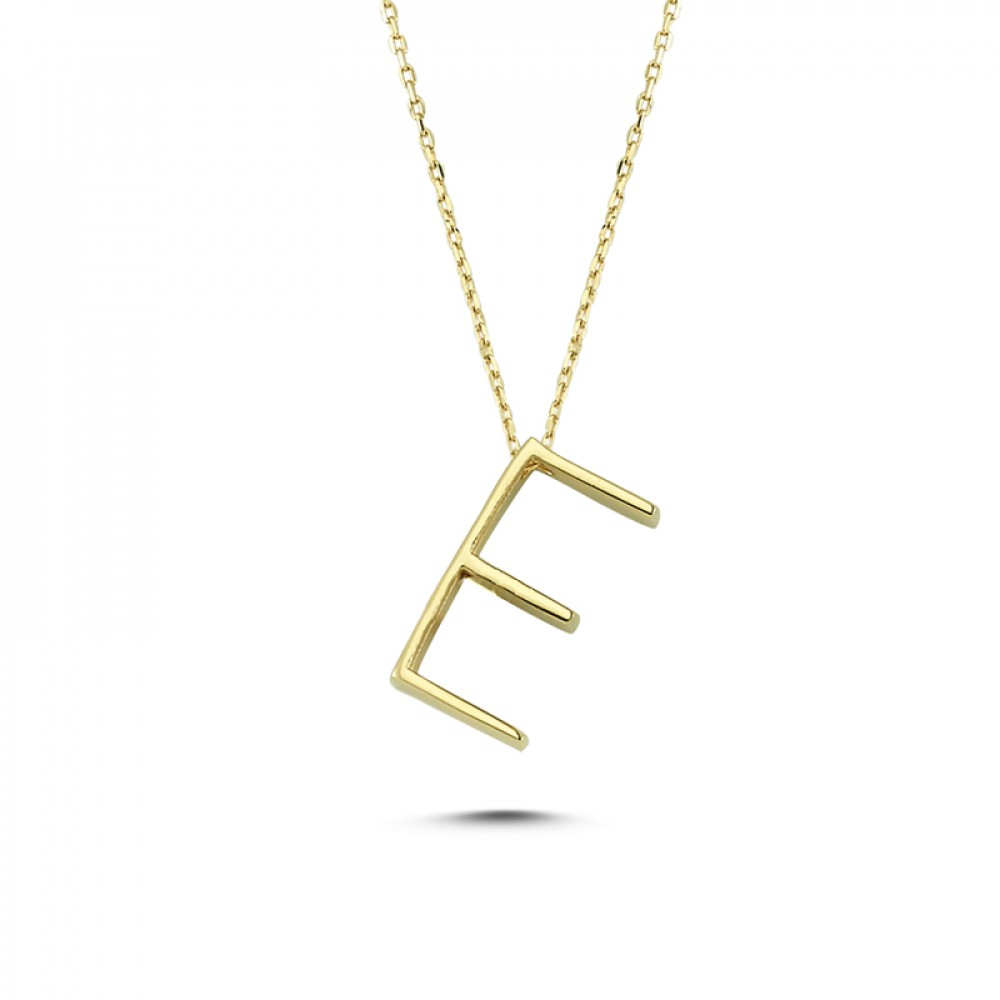 Glorria Gold 3D E Letter Necklace