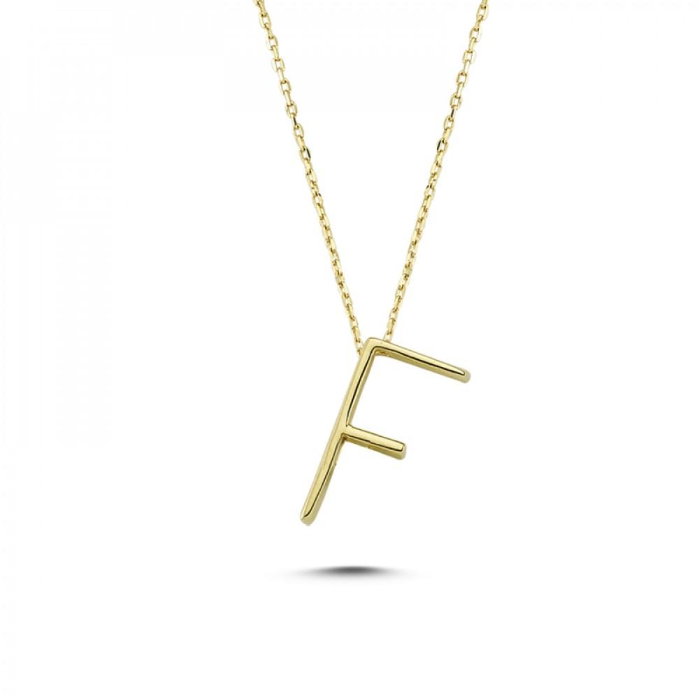 Glorria Gold 3D F Letter Necklace