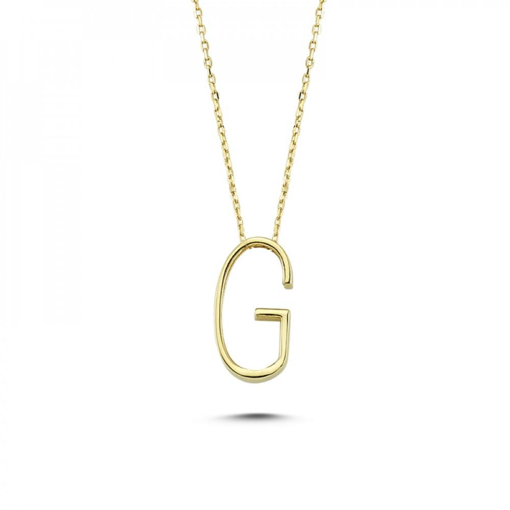 Glorria Gold 3D G Letter Necklace