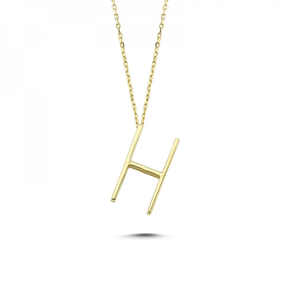 Glorria Gold 3D H Letter Necklace