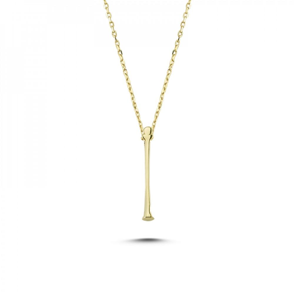 Glorria Gold 3D İ Letter Necklace