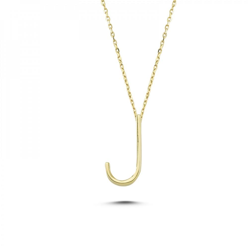 Glorria Gold 3D J Letter Necklace