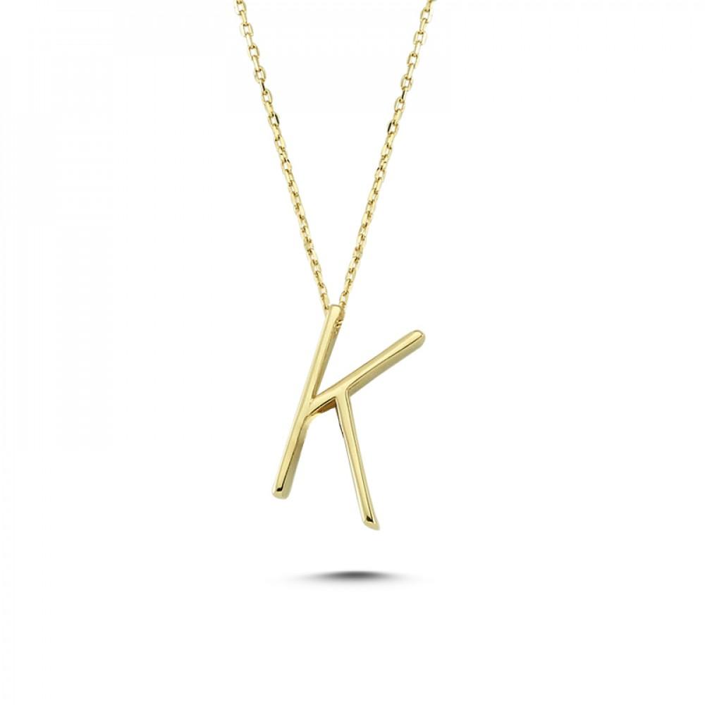 Glorria Gold 3D K Letter Necklace