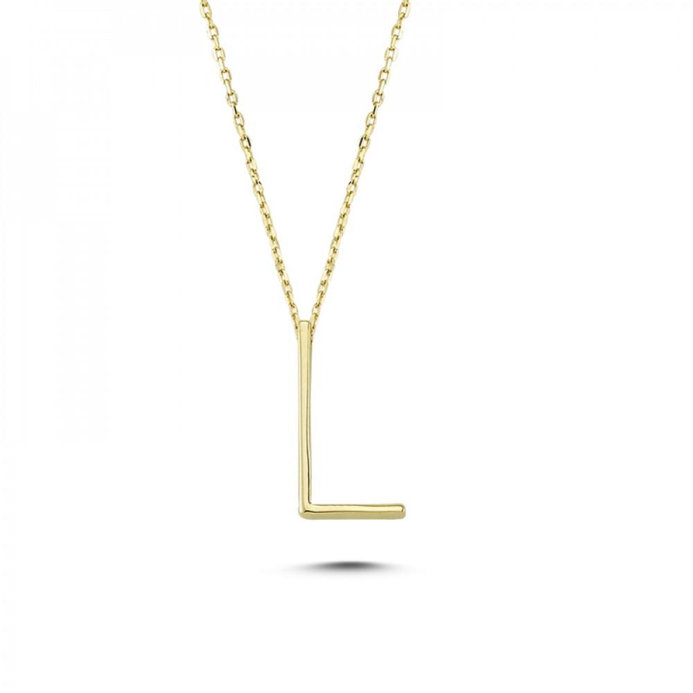 Glorria Gold 3D L Letter Necklace