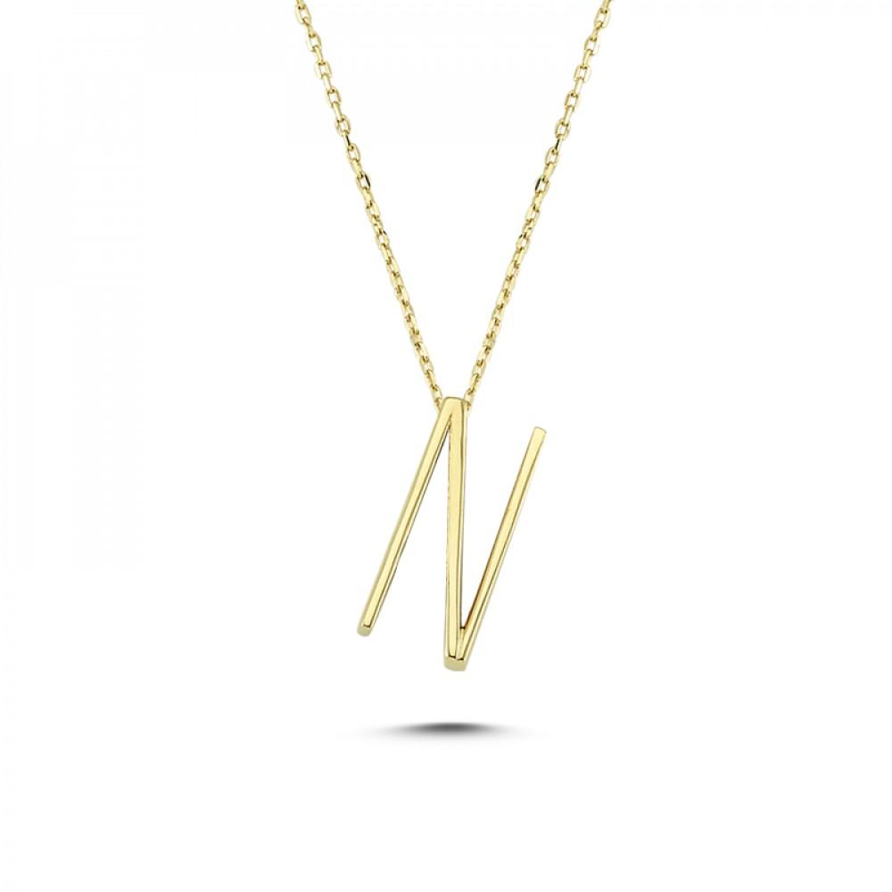 Glorria Gold 3D N Letter Necklace
