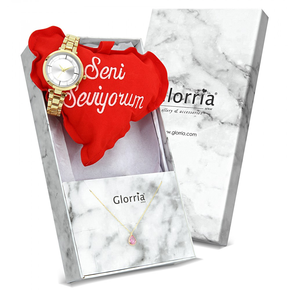 Glorria Gold Drop Necklace, Watch Gift Set