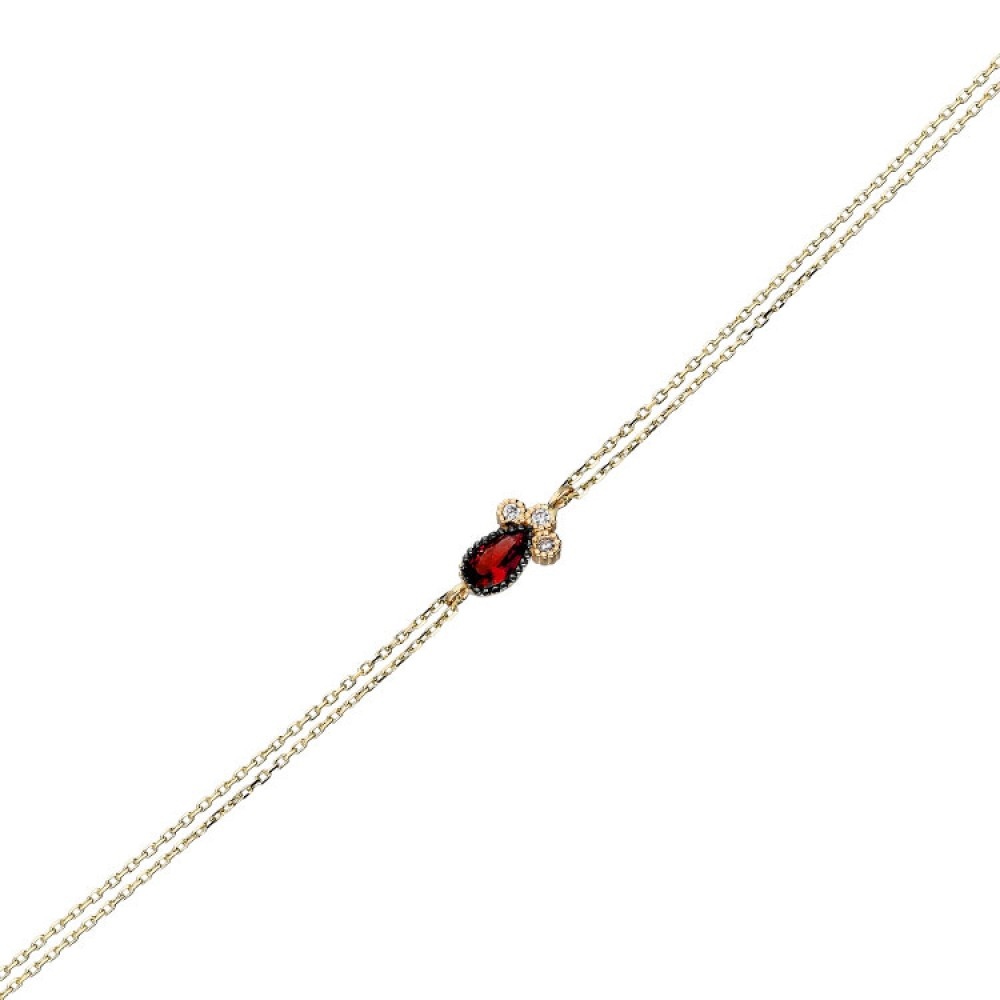 Glorria Gold  Red Pave Drop Bracalet