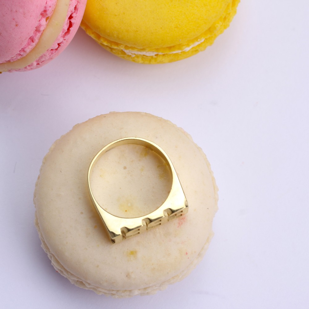Glorria Silver Dainty Gold Filled Silver Date Ring