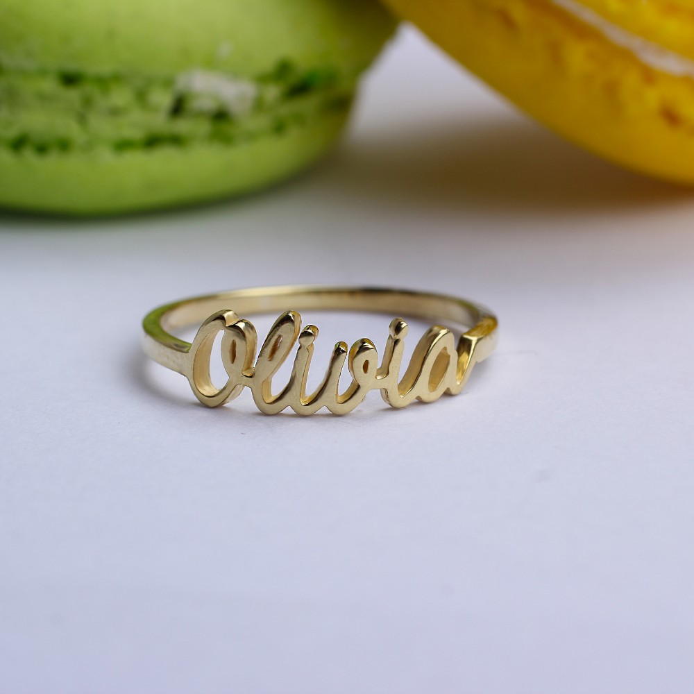 Glorria Gold Handwrite Name Ring