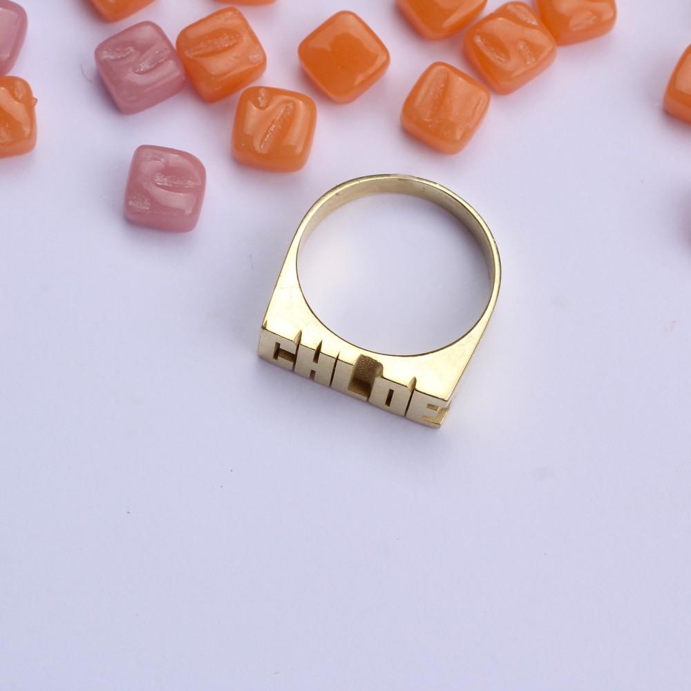 Glorria Silver Customized Name Ring