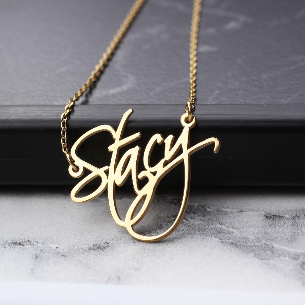Glorria Silver Calligraphy Name Necklace