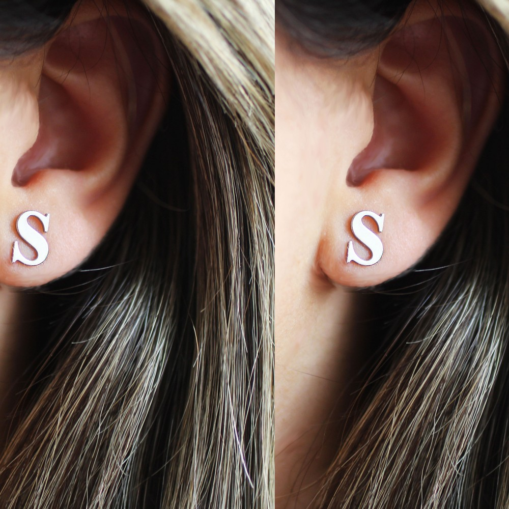 Glorria Silver Custom Stud Initial Earrings
