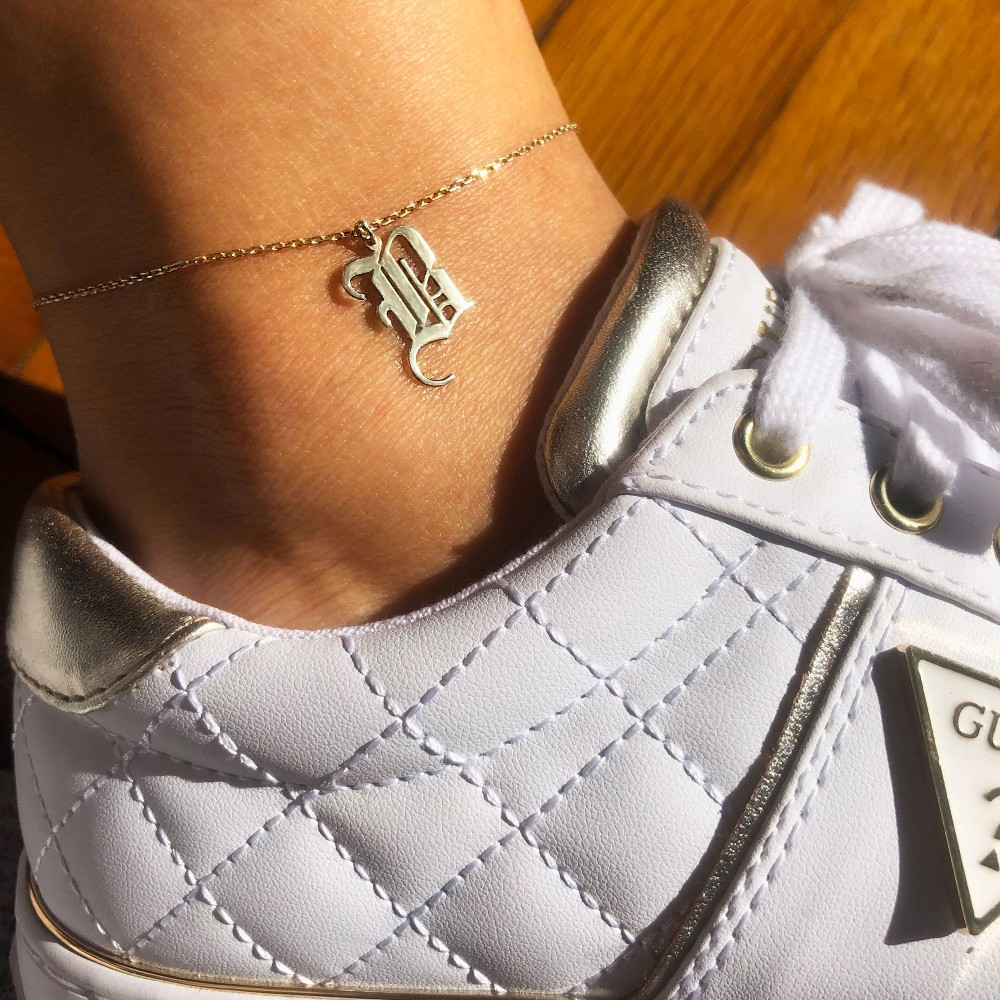Glorria Silver Gothic Initial Anklet