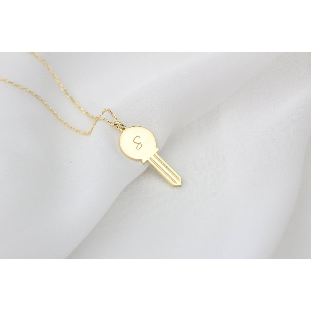 Glorria Silver Personalized Initial Lock Necklace