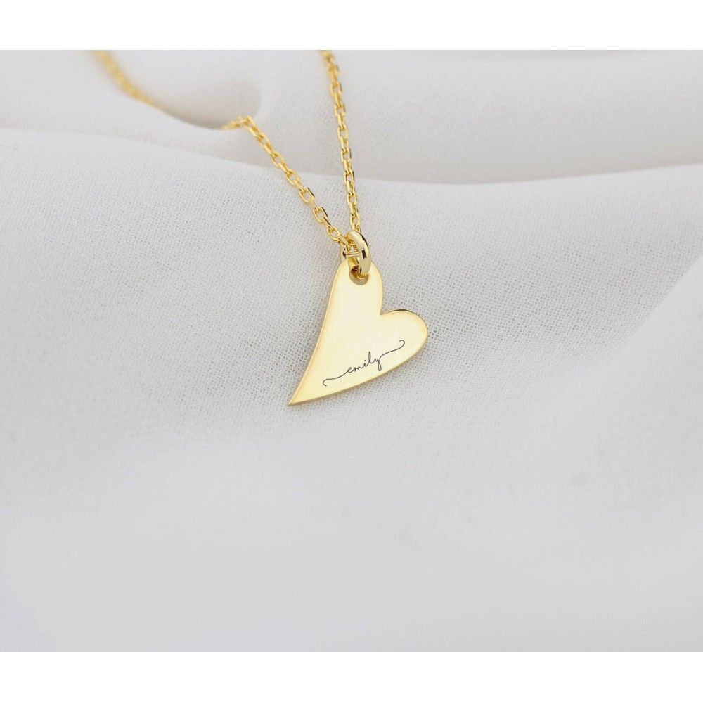 Glorria Silver Personalized Name Heart Necklace