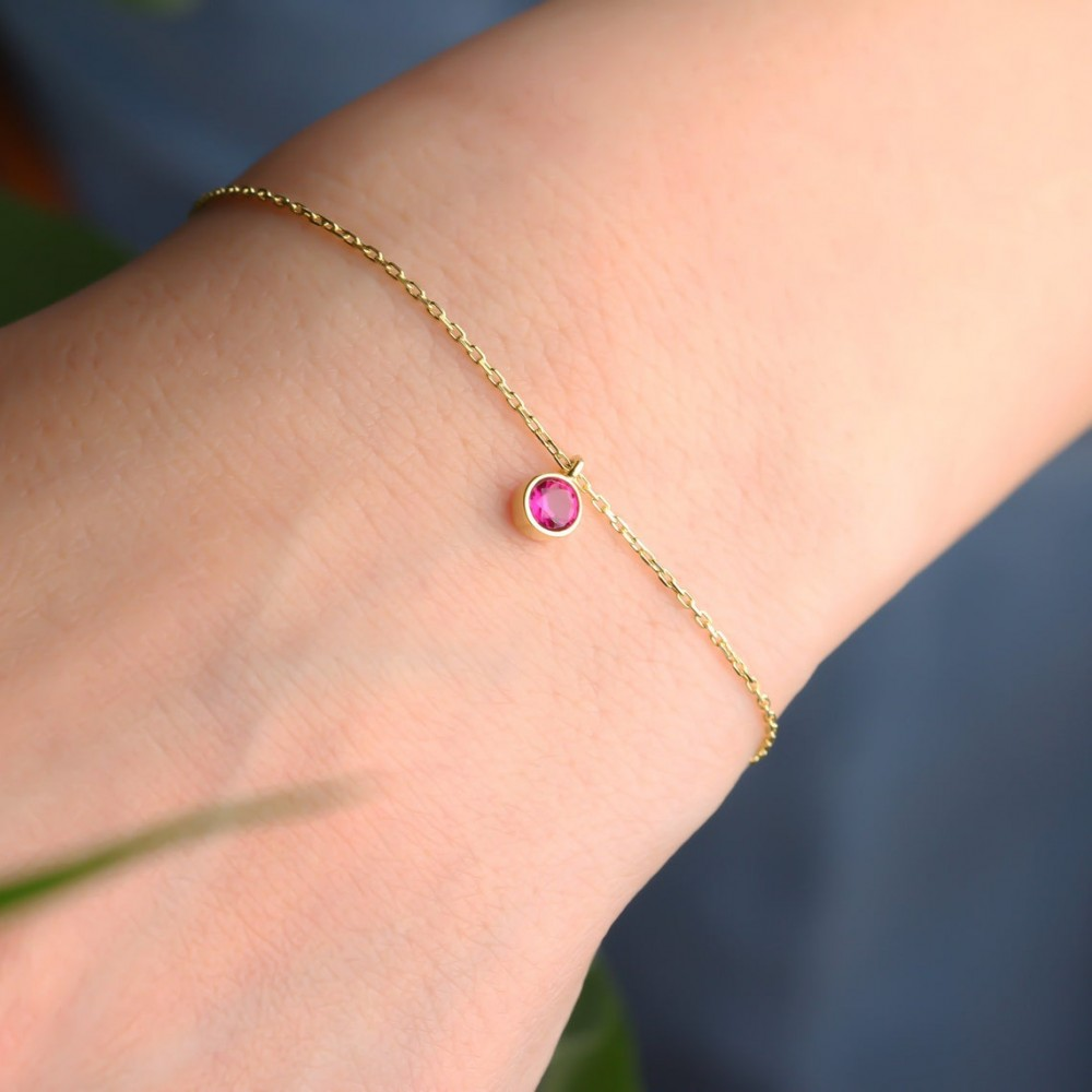 Glorria Silver Personalized Birthstone Bracelet