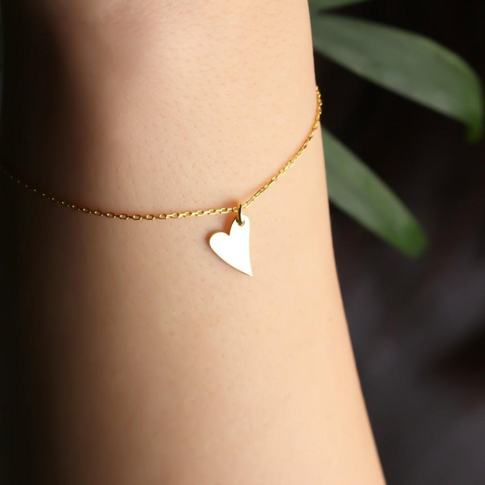 Glorria Silver Personalized Name Heart Bracelet