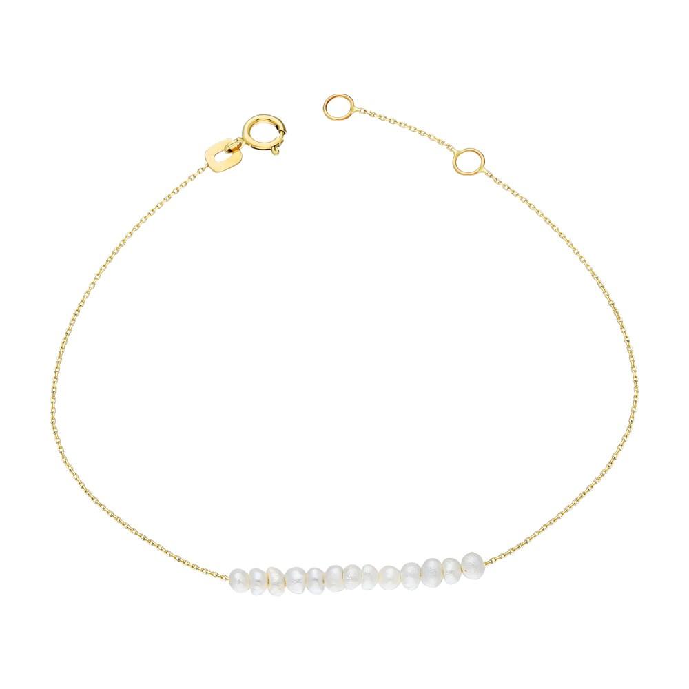 Glorria Gold Pearl Row Bracelet