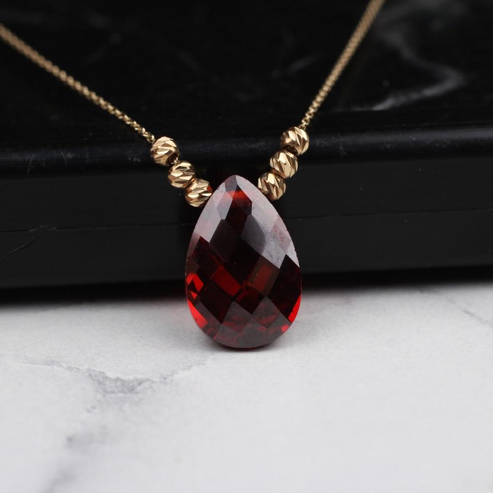 Glorria Gold Dorika Red Drop Necklace