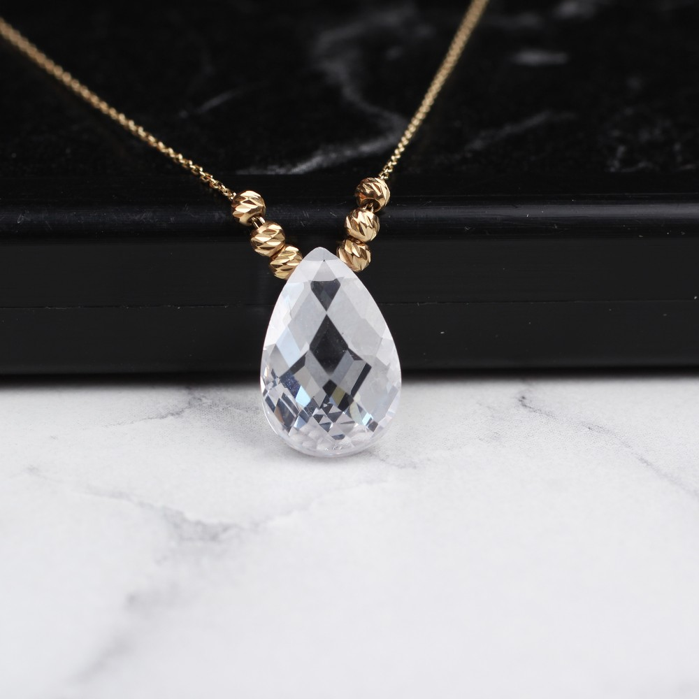 Glorria Gold Dorika White Drop Necklace