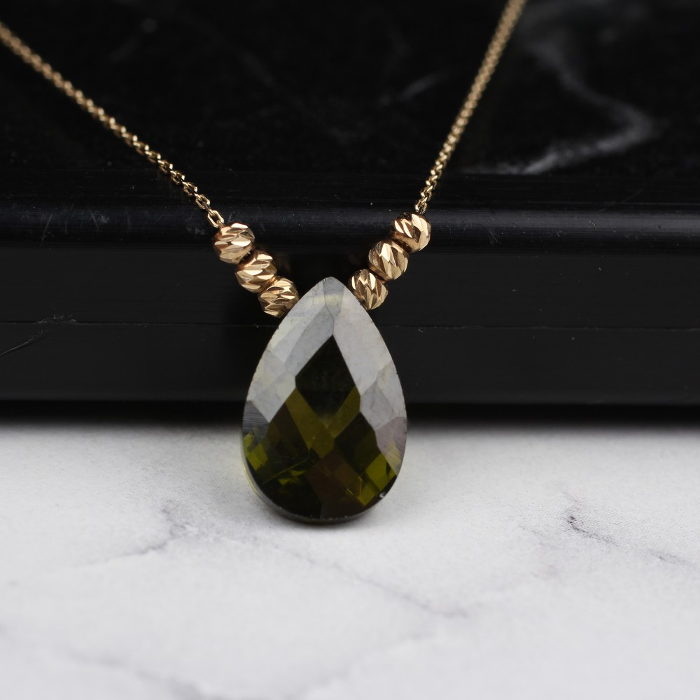 Glorria Gold Dorika Green Drop Necklace