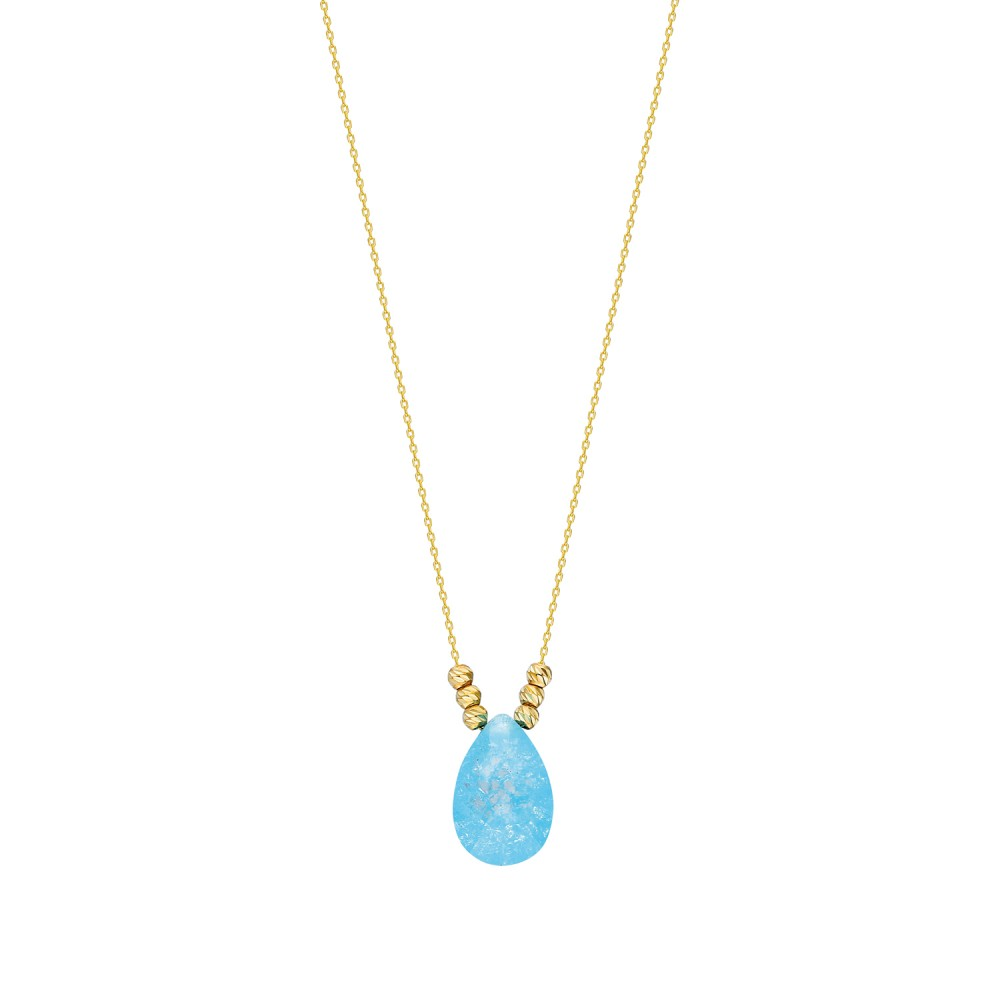 Glorria Gold Dorika Blue Drop Necklace