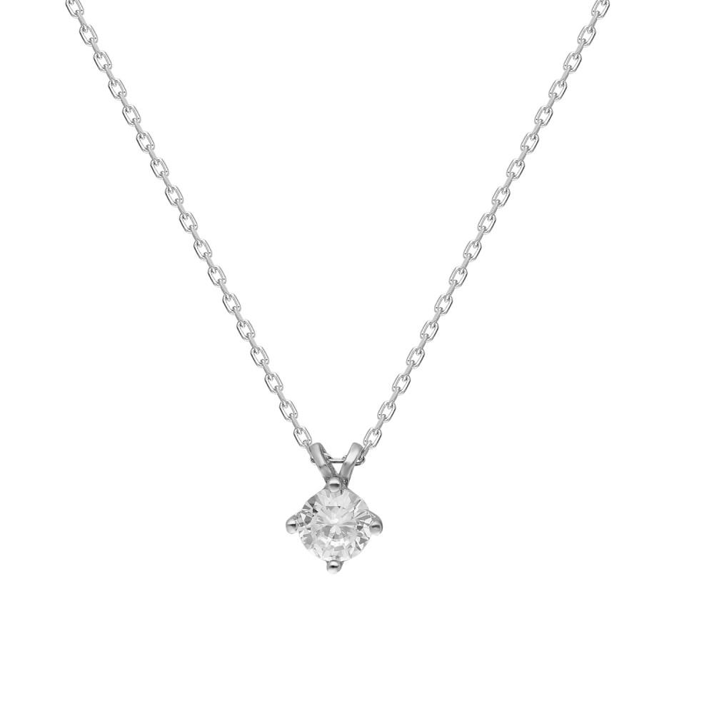 Glorria Silver Solitaire Necklace
