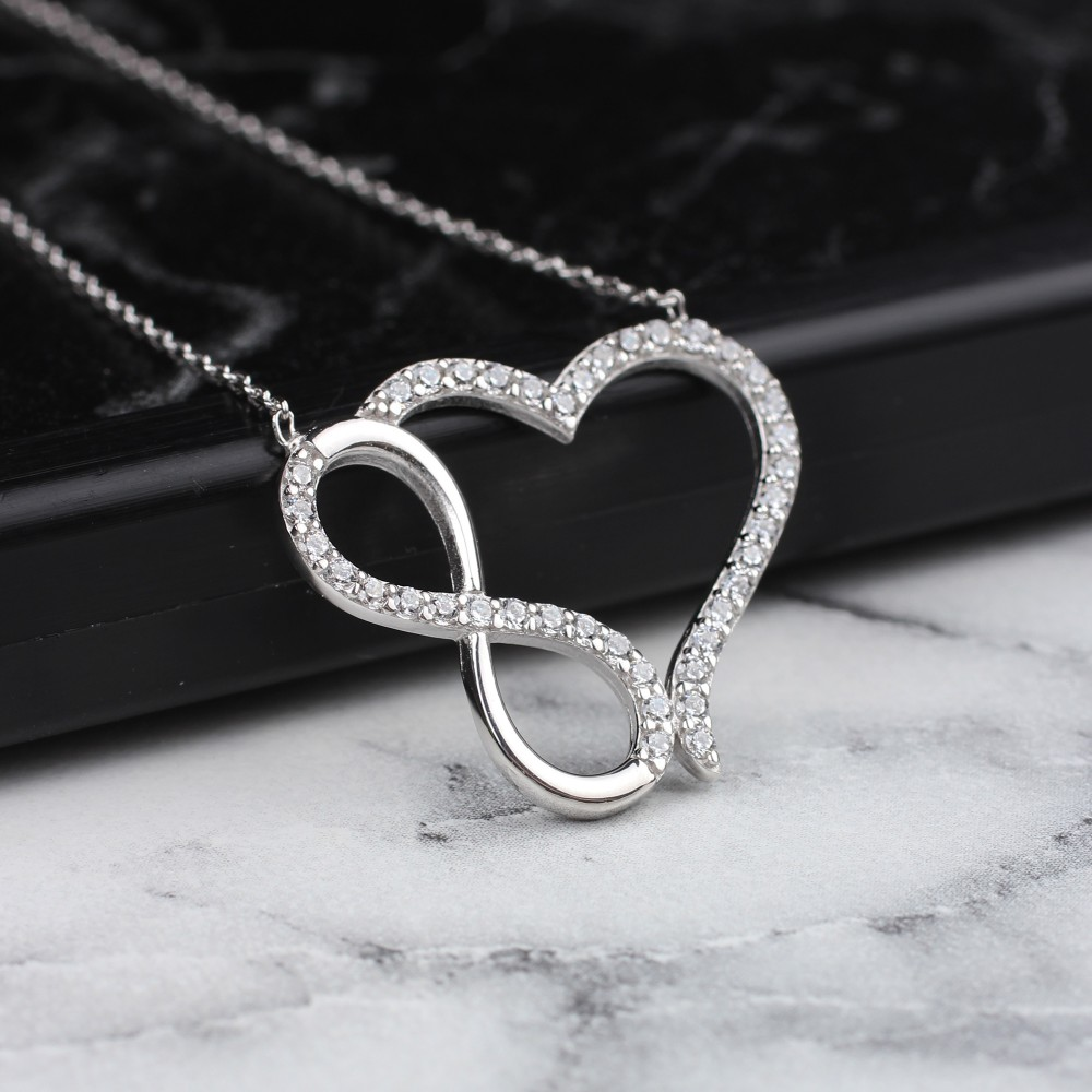 Glorria Silver Infinity Heart Necklace