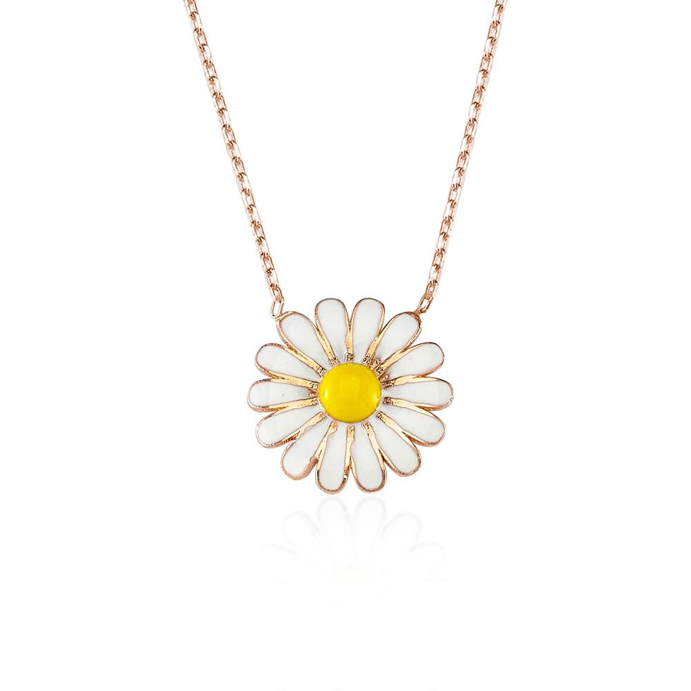 Glorria Silver Daisy Necklace