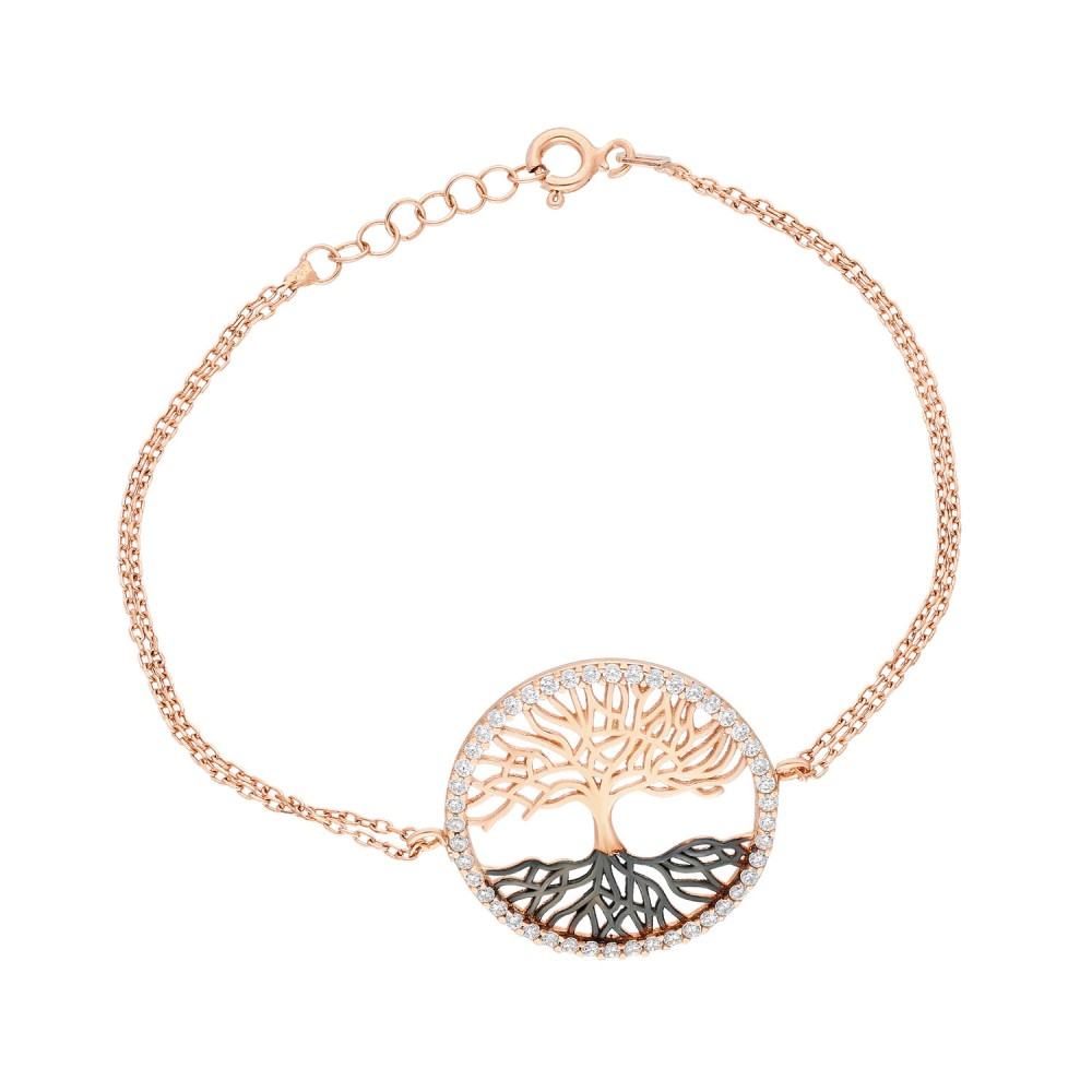 Glorria Silver Tree of Life Necklace, Bracelet, Flower Gift Set