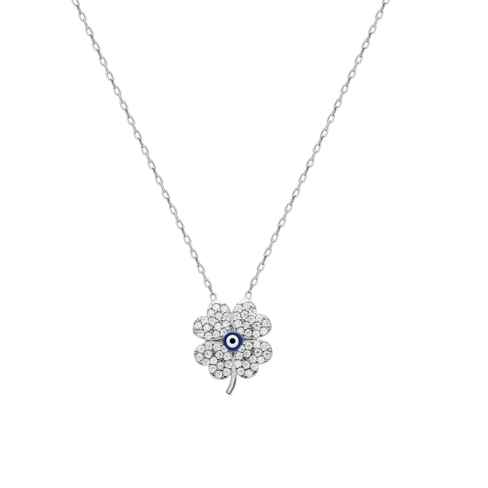 Glorria Silver Evil Eye Clover Necklace