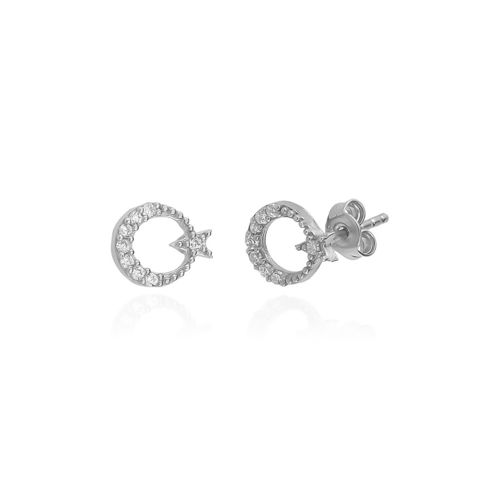 Glorria Silver Moon and Star Necklace, Earrings, Flower Gift Set