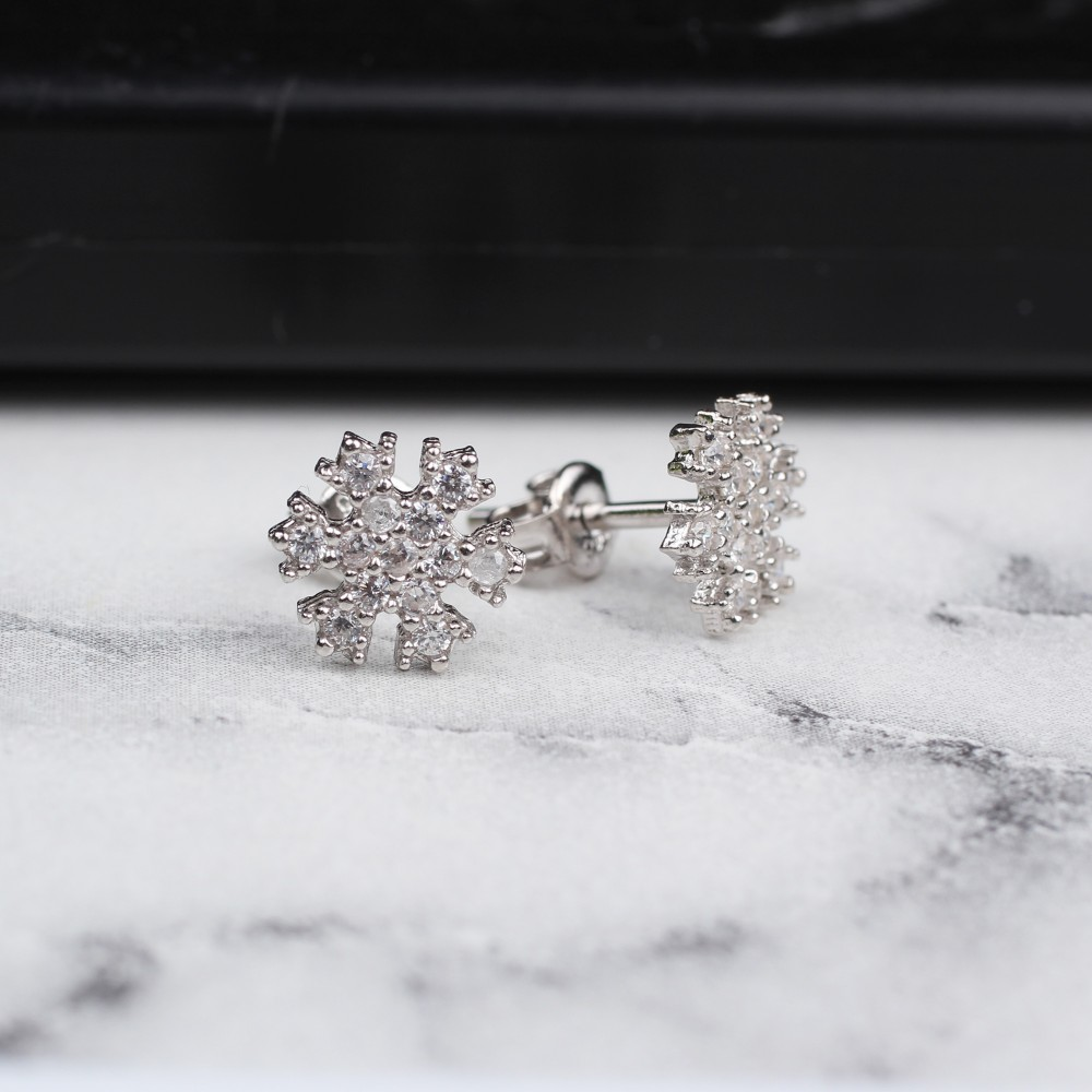 Glorria Silver Snowflake Earring