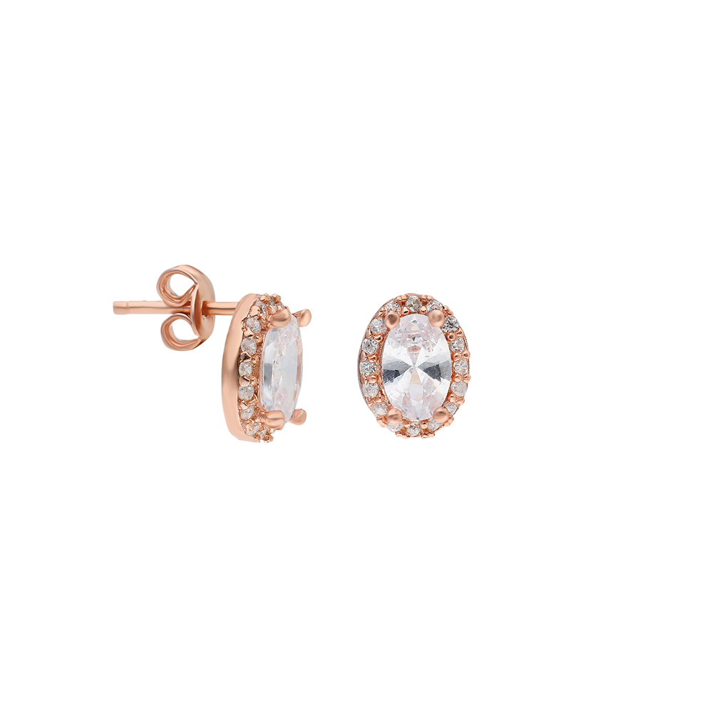 Glorria Silver Anthurage Oval Earring