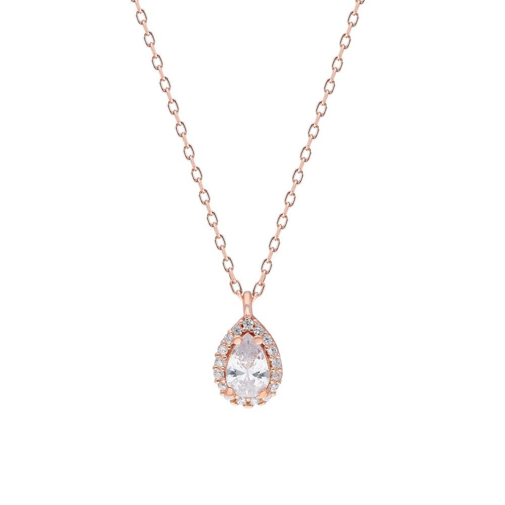Glorria Silver Drop Anthurage Necklace