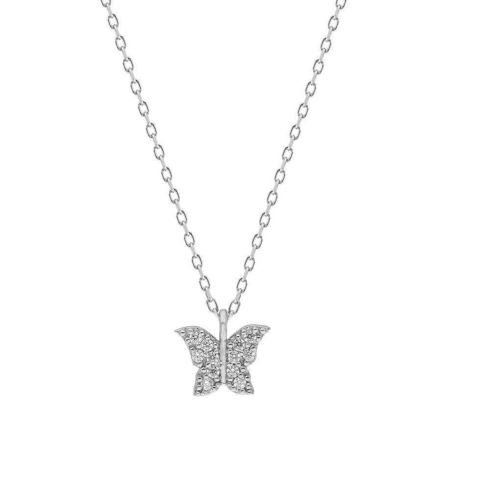 Glorria Silver Butterfly Necklace