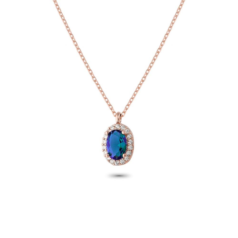 Glorria Silver Anturage Oval Necklace
