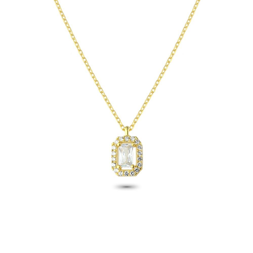 Glorria Silver Baguette Necklace