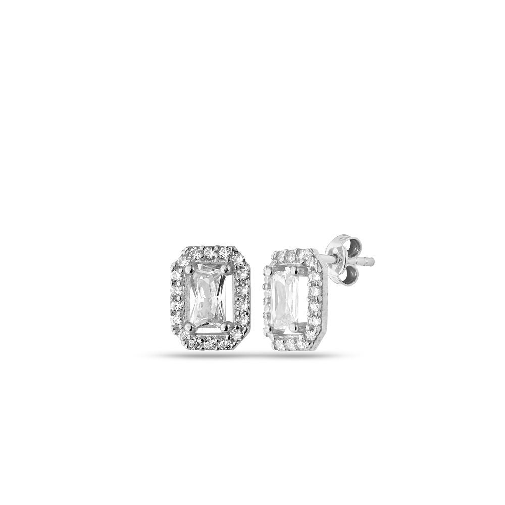 Glorria Silver Baguette Earrings