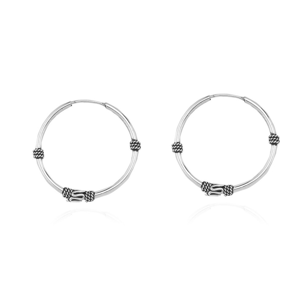 Glorria Silver 2 cm Patterned Circle Earring