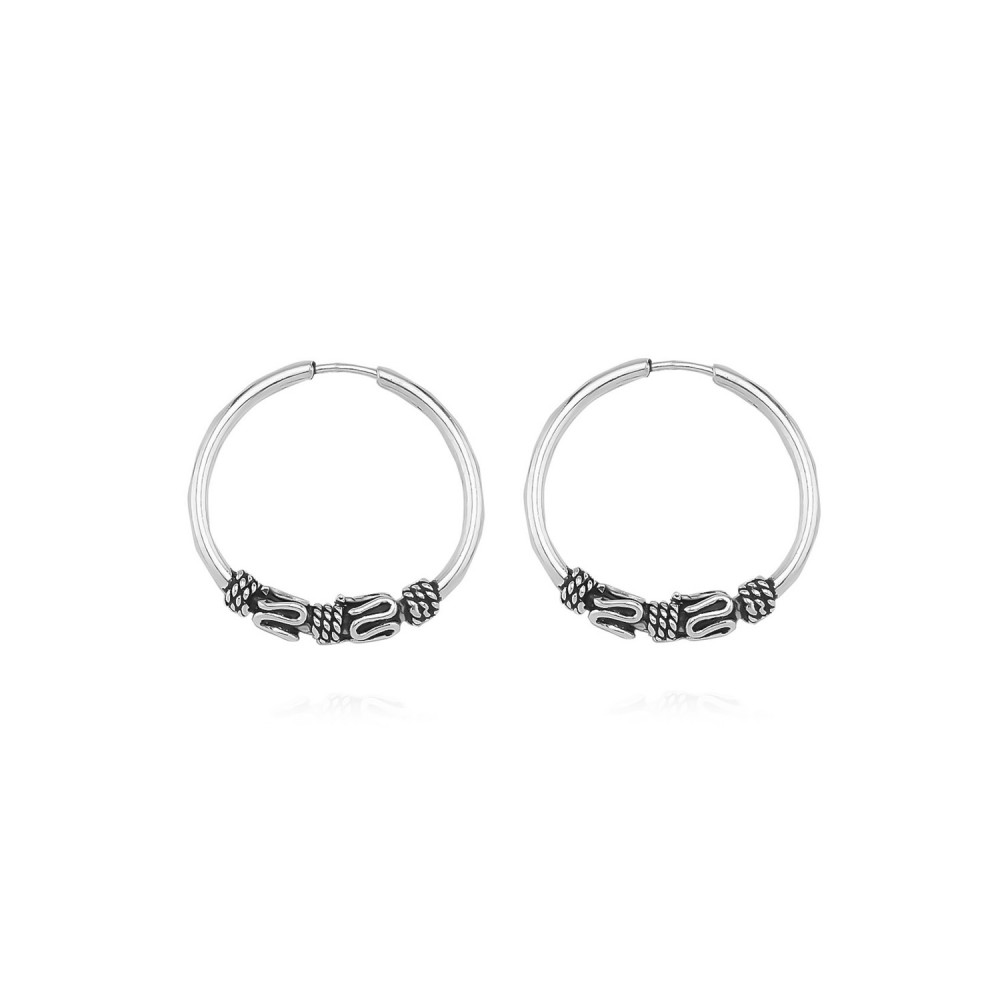 Glorria Silver 1,5 cm Patterned Circle Earring
