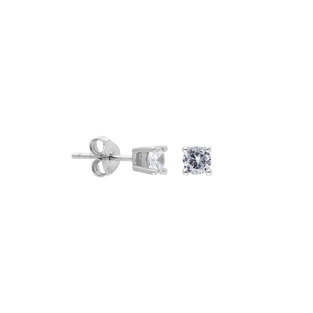 Glorria Silver 4 mm Solitaire Earring