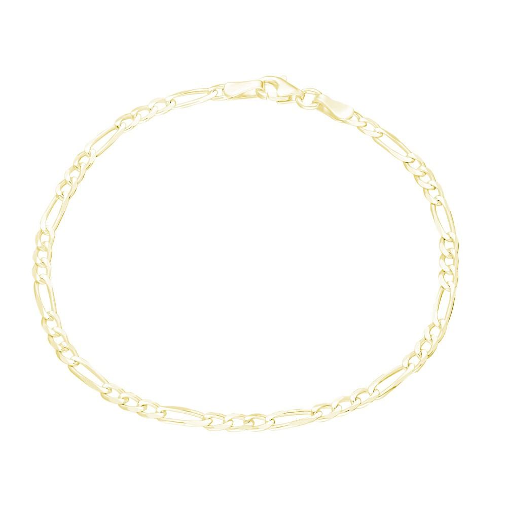 Glorria Silver Yellow Figaro Chain Bracalet
