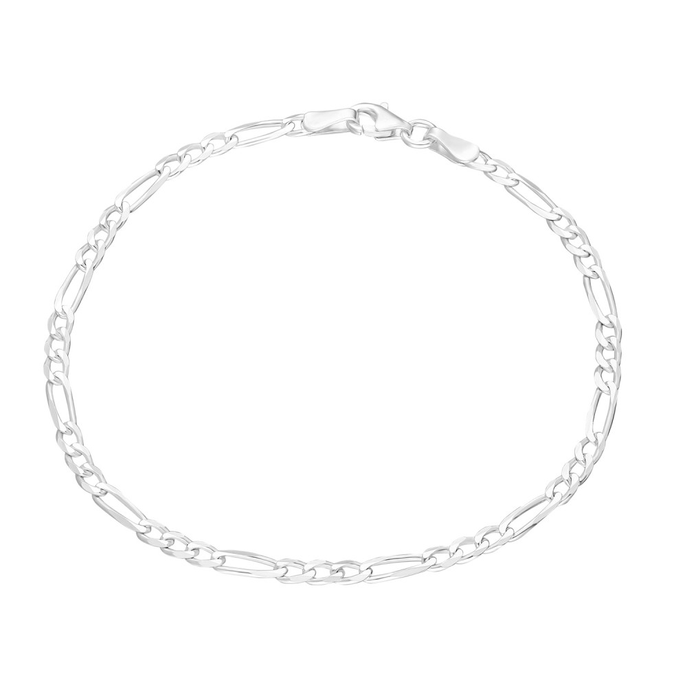 Glorria Silver Figaro Chain Bracalet