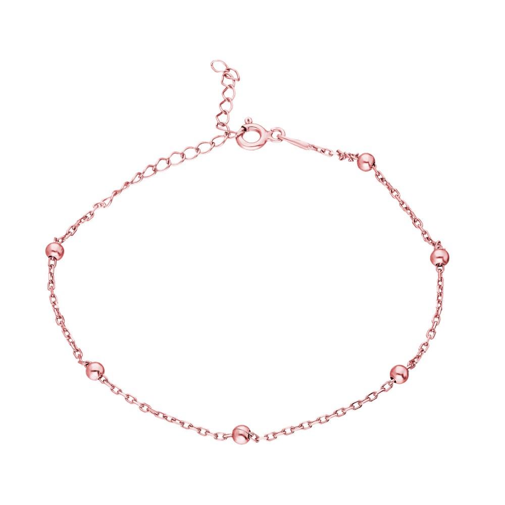 Glorria Silver Rose Ball Chain Bracalet