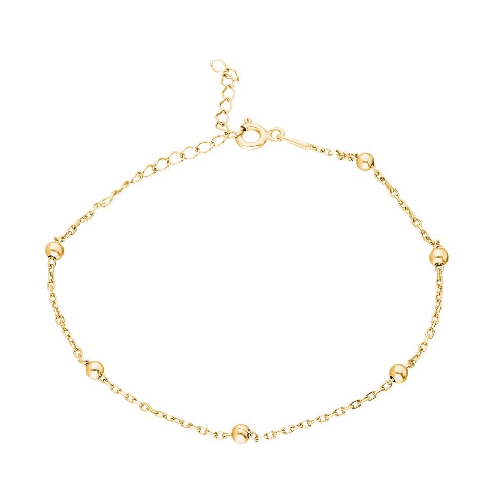 Glorria Silver Yellow Ball Chain Bracalet